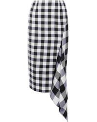 Monse - Asymmetric Gingham Wool And Cotton-blend Midi Skirt - Lyst