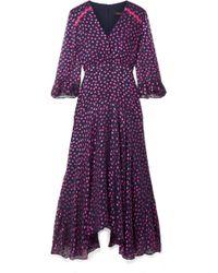 Saloni - Edith Polka-dot Flocked Silk-blend Chiffon Midi Dress - Lyst