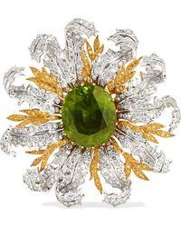 Buccellati - 18-karat Yellow And White Gold, Diamond And Peridot Brooch - Lyst