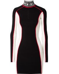 Opening Ceremony - Optic Intarsia-trimmed Color-block Stretch-knit Mini Dress - Lyst