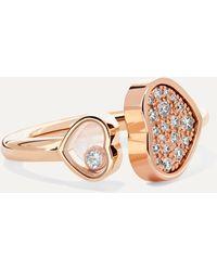 Chopard Happy Hearts 18-karat Rose Gold Diamond Ring - Metallic