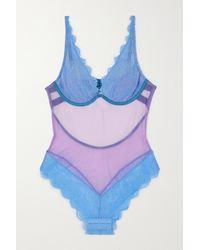 Dora Larsen Jessica Body Aus Stretch-tüll Und Spitze - Blau