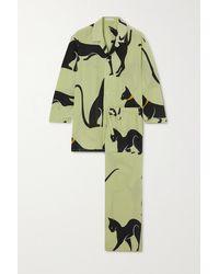 Olivia Von Halle Casablanca Pyjama Aus Bedrucktem Crêpe De Chine Aus Seide - Grün