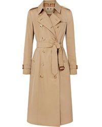 Burberry The Kensington Long Cotton-gabardine Trench Coat - Natural
