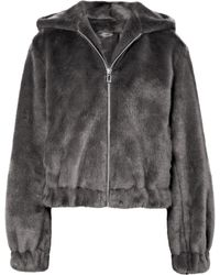 Helmut Lang - Hooded Faux Fur Bomber Jacket - Lyst