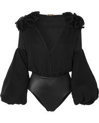 Johanna Ortiz - Ruffled Silk-blend Chiffon Bodysuit - Lyst
