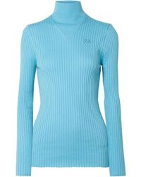 Courreges Ribbed Cotton Turtleneck Sweater - Blue
