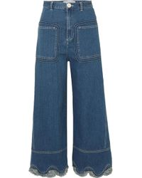 See By Chloé - Scalloped High-rise Wide-leg Jeans - Lyst