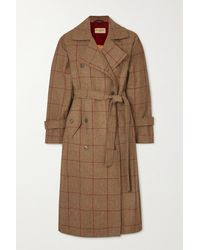 James Purdey & Sons Belted Checked Wool-tweed Trench Coat - Brown