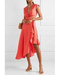 Miguelina Liviona Ruffled Linen Wrap Skirt - Red