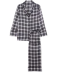Equipment - Avery Checked Washed-silk Pyjama Set - Lyst