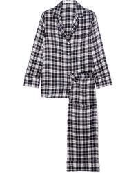 Equipment - Avery Checked Washed-silk Pyjama Set - Lyst