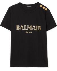 Balmain Button-embellished Printed Cotton-jersey T-shirt - Black