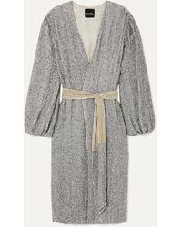 retroféte - Audrey Velvet-trimmed Sequined Chiffon Wrap Dress - Lyst