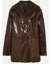 Kassl Reversible Lacquered Textured-leather And Faux Shearling Coat - Brown