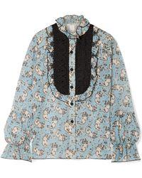 Anna Sui - Bedruckte Bluse Aus Seidenchiffon Mit Häkelbesatz Und Rüschen - Lyst
