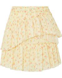 LoveShackFancy - Genevieve Tulle-trimmed Floral-print Cotton Mini Skirt - Lyst