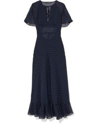 ALEXACHUNG - Cape-effect Ruffled Polka-dot Crepe Dress - Lyst