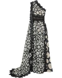 Naeem Khan - One-shoulder Lace-trimmed Printed Silk-chiffon Gown - Lyst