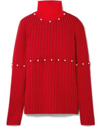 Opening Ceremony - Convertible Faux Pearl-embellished Wool-jacquard Turtleneck Jumper - Lyst