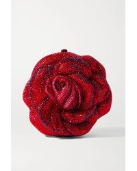 Judith Leiber Rose American Beauty Crystal-embellished Gold-tone Clutch - Red