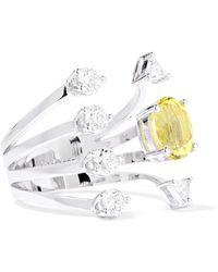 Delfina Delettrez | 18-karat White Gold, Beryllium And Diamond Ring | Lyst