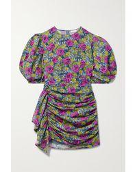 RHODE Pia Draped Floral-print Cotton Mini Dress - Pink