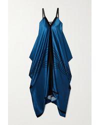 Louisa Parris Kitty Draped Printed Silk-satin Maxi Dress - Blue