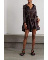 Yvonne S Hippy Topstitched Printed Cotton-voile Mini Dress - Brown
