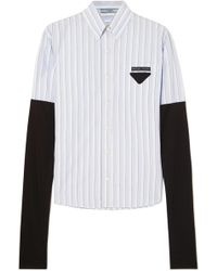 Prada - Jersey-trimmed Striped Cotton-poplin Shirt - Lyst