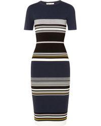 Diane von Furstenberg - Striped Stretch-knit Midi Dress - Lyst