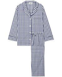 Sleepy Jones Marina Pyjama Aus Baumwollpopeline Mit Gingham-karo - Blau