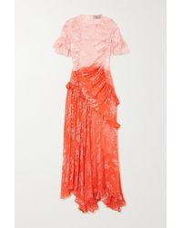 Preen By Thornton Bregazzi Etsu Asymmetric Ruffled Ombré Devoré-satin Dress - Orange