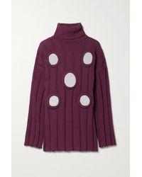 Area Oversized Embellished Ribbed Cotton-blend Turtleneck Jumper - Purple