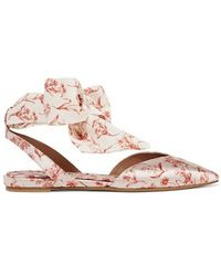 Tabitha Simmons + Johanna Ortiz Vera Printed Silk-satin And Crepe De Chine Point-toe Flats - White