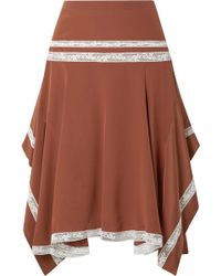 Chloé - Asymmetric Lace-trimmed Silk-satin Skirt - Lyst