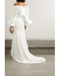 Brandon Maxwell Cold-shoulder Twill And Crepe Gown - White