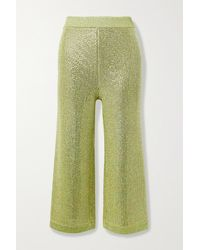 Gucci Cropped Crystal-embellished Metallic Knitted Wide-leg Trousers - Yellow