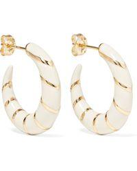 Alison Lou - Petite Stripes 14-karat Gold And Enamel Hoop Earrings - Lyst