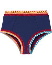KIINI Culotte De Bikini à Finitions En Crochet Tasmin - Bleu