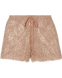 Miguelina - Chica Metallic Chantilly Lace Shorts - Lyst