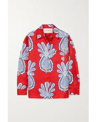 La DoubleJ Printed Silk-twill Shirt - Red