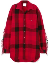 Vetements - Oversized Fringed Checked Wool-blend Flannel Shirt - Lyst
