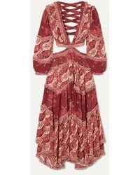 Zimmermann Eyes On Summer Cutout Printed Chiffon Maxi Dress - Red