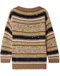Brunello Cucinelli - Striped Sequined Cotton-blend Jumper - Lyst