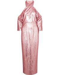 Safiyaa - Sequined Crepe Halterneck Midi Dress - Lyst