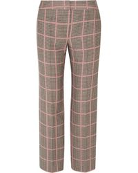 Giorgio Armani - Checked Woven Straight-leg Trousers - Lyst