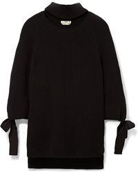 Fendi - Cutout Bow-embellished Ribbed Cashmere Sweater - Lyst