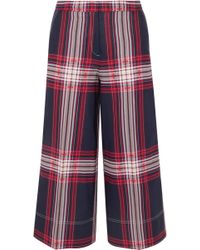 By Malene Birger - Ilan Cropped Checked Linen And Cotton-blend Wide-leg Trousers - Lyst