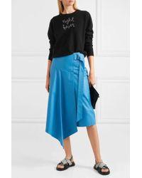 Lingua Franca Night Fever Embellished Embroidered Cashmere Sweater - Black